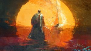 Preview wallpaper knight, warrior, shield, art
