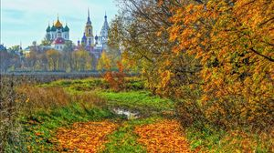 Preview wallpaper kolomna, russia, autumn, temple, trees
