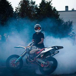 Preview wallpaper ktm, motorcycle, bike, motorcyclist, smoke, asphalt, drift