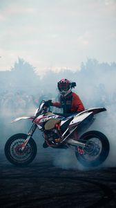 Preview wallpaper ktm, motorcycle, bike, motorcyclist, smoke, drift, moto
