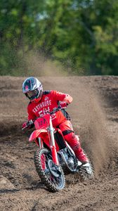 Preview wallpaper ktm, motorcycle, bike, red, motorcyclist, rally