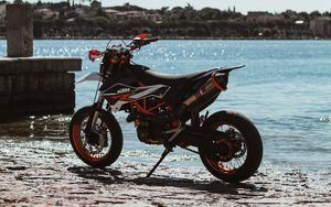 Preview wallpaper ktm, motorcycle, side view, bike, wheels, river