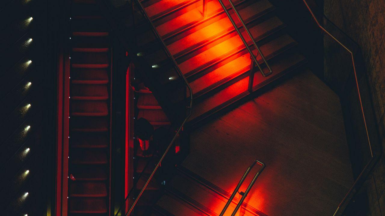 1280x720 Wallpaper ladder, lights, red, design