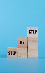 Preview wallpaper ladder, motivation, words, cubes, blue
