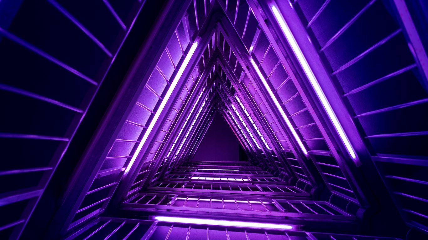 1366x768 Wallpaper ladder, purple, light