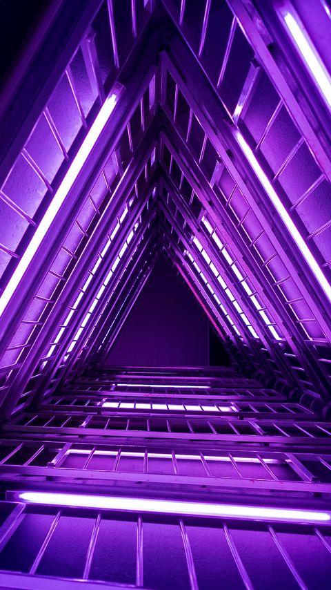 480x854 Wallpaper ladder, purple, light