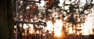 Preview wallpaper ladder, rope, tree, sunset, autumn