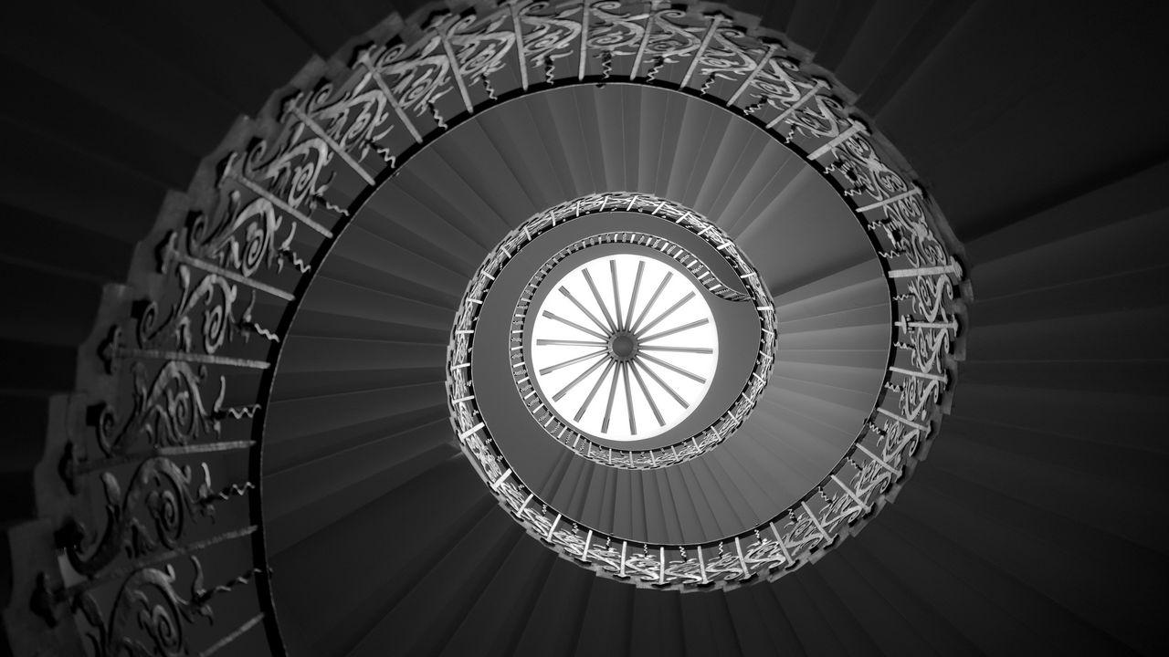 1280x720 Wallpaper ladder, spiral, bottom view, bw