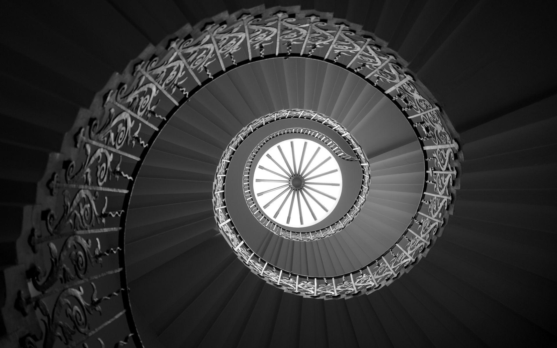 1920x1200 Wallpaper ladder, spiral, bottom view, bw