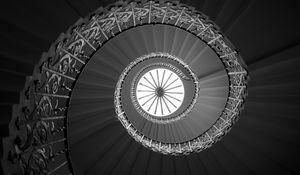 Preview wallpaper ladder, spiral, bottom view, bw