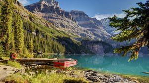 Preview wallpaper lake, boat, mountains, beautiful landscape