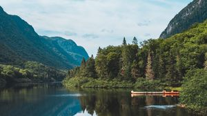 Preview wallpaper lake, forest, mountains, landscape, shore, trees