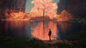 Preview wallpaper lake, man, art, mountains, shore