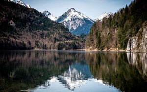 Preview wallpaper lake, mountains, forest, water, reflection, landscape