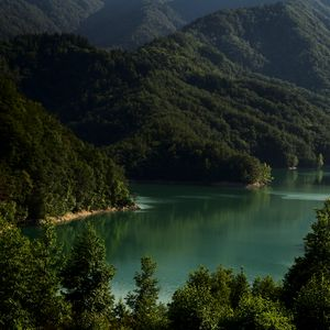 Preview wallpaper lake, mountains, trees, landscape, italy