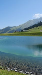 Preview wallpaper lake, mountains, water, landscape, nature, summer