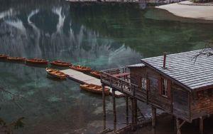 Preview wallpaper lake, pier, boats, mountain, trees, shore