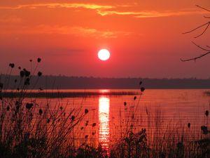 Preview wallpaper lake, sun, sunset, dark