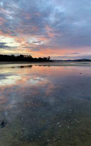 Preview wallpaper lake, sunset, water, dusk, nature