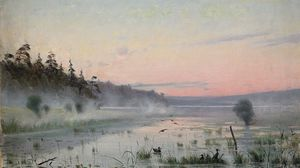 Preview wallpaper lake, wefts, fog, morning, painting, art, canes