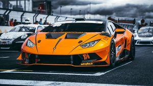 Preview wallpaper lamborghini, car, sports car, orange, racing