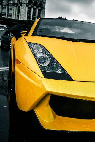 320x480 Wallpaper lamborghini, yellow, rain, street