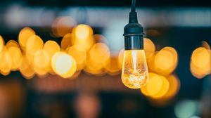 Preview wallpaper lamp, bulb, electricity, lighting, glare, bokeh