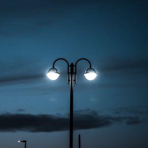 Preview wallpaper lamp posts, night, lighting, dark