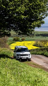 Preview wallpaper land rover, car, suv, white, road, nature