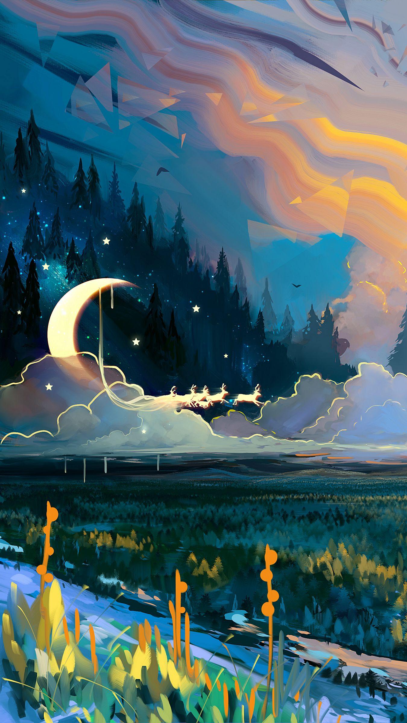 1350x2400 Wallpaper landscape, art, moon, grass, colorful