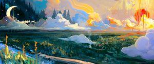 Preview wallpaper landscape, art, moon, grass, colorful