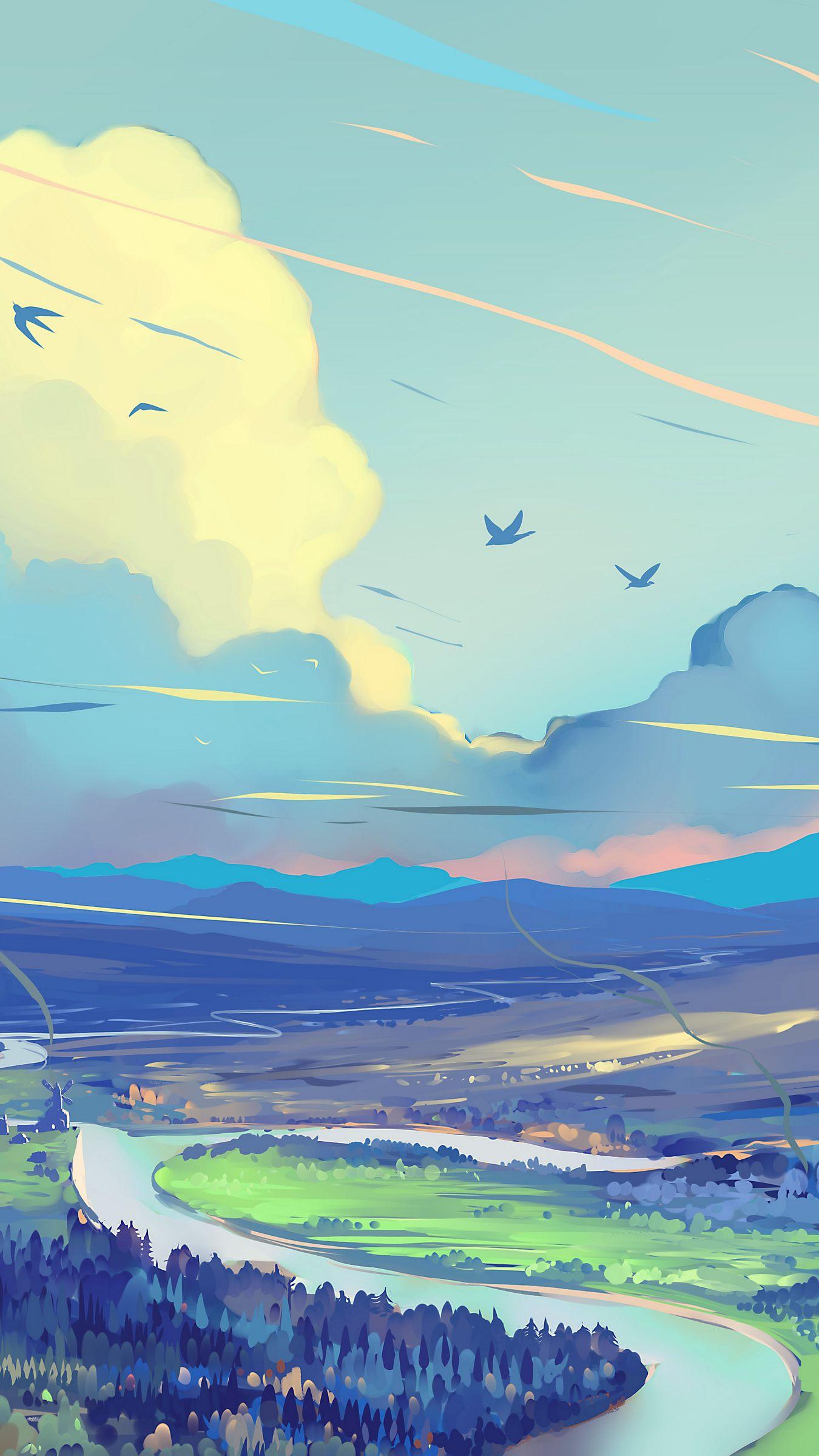 1350x2400 Wallpaper landscape, art, road, mountains, sky