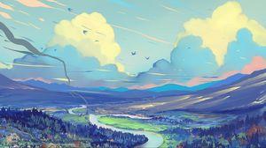 Preview wallpaper landscape, art, road, mountains, sky
