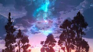 Preview wallpaper landscape, art, trees, clouds, paint