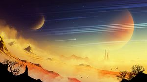 Preview wallpaper landscape, extraterrestrial, rocks, dust, planet, stars, space