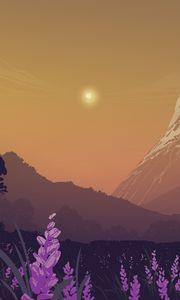 Preview wallpaper landscape, mountains, art, lavender, flowers, trees, sun