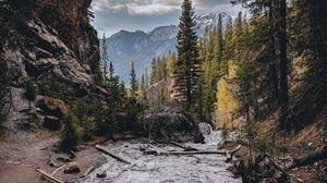 Preview wallpaper landscape, mountains, rocks, river, stream