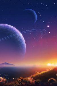 Preview wallpaper landscape, planets, stars, space, art