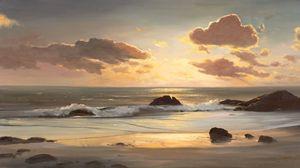 Preview wallpaper landscape, sea, coast, ocean, painting, art, beach