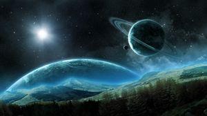 Preview wallpaper planet, saturn, satellite, rings, space, night