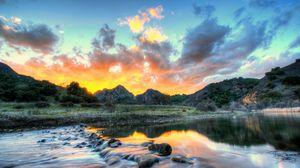 Preview wallpaper landscape, usa, river, sky, malibu, california, clouds, hdr, nature