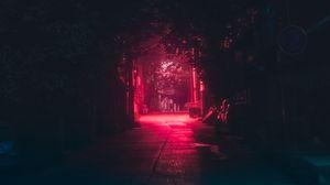 Preview wallpaper lane, night, dark, urban, lighting, red
