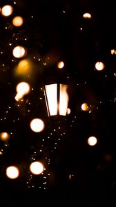 Preview wallpaper lantern, garland, lights, light, dark