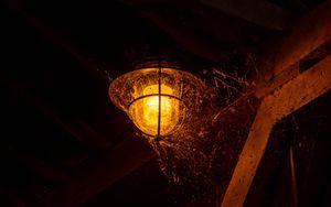 Preview wallpaper lantern, light, cobweb, dark