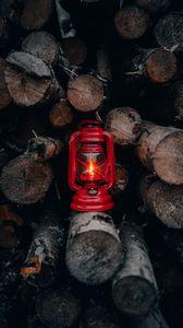 Preview wallpaper lantern, red, firewood, fire, light