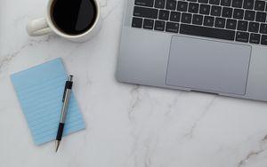 Preview wallpaper laptop, keyboard, marble, aesthetics