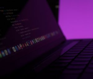 Preview wallpaper laptop, keys, code, programming, purple