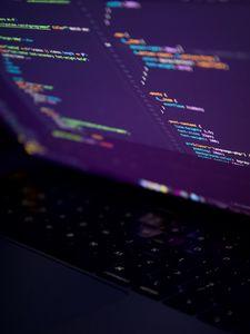 Preview wallpaper laptop, screen, code, programming, dark, hacker
