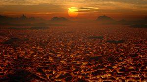 Preview wallpaper lava, landscape, sunset, volcanic