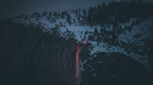 Preview wallpaper lava, volcano, cliff, fog, snow, winter